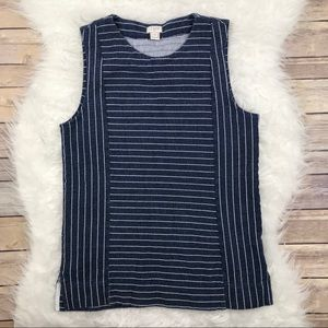 J. Crew Factory Striped Blue Shell Tank Top